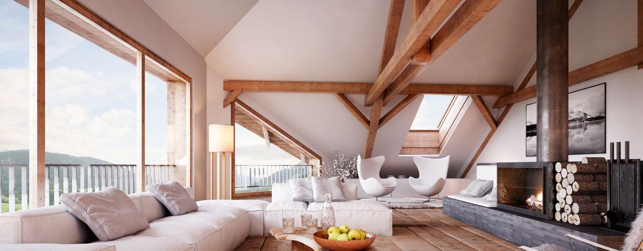 von Mann Architektur GmbH Salones rústicos de estilo rústico