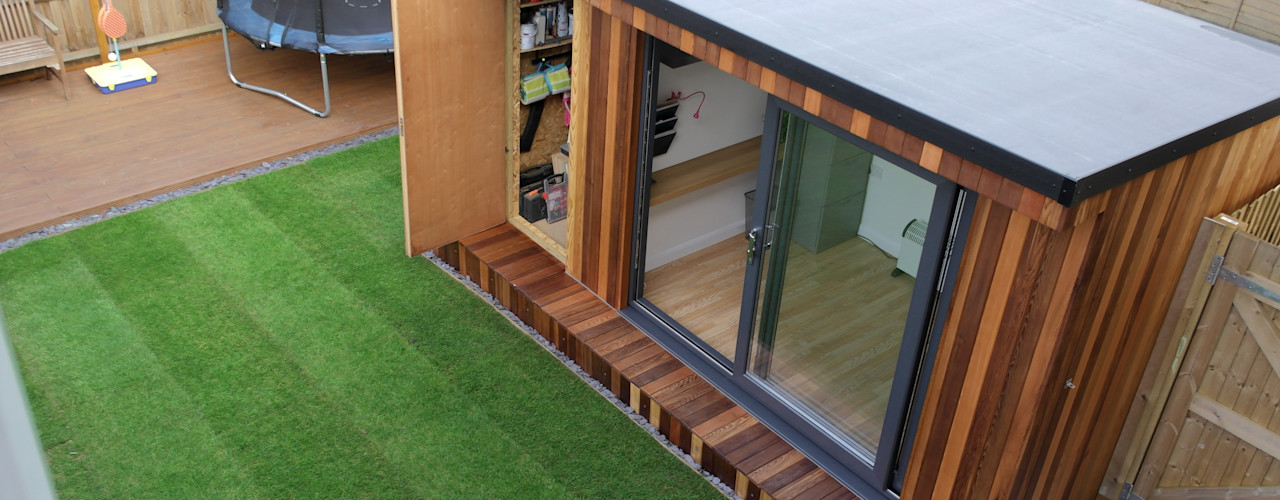 Garden Office with hidden storage shed built by Garden Fortress , Surrey homify Study/office
