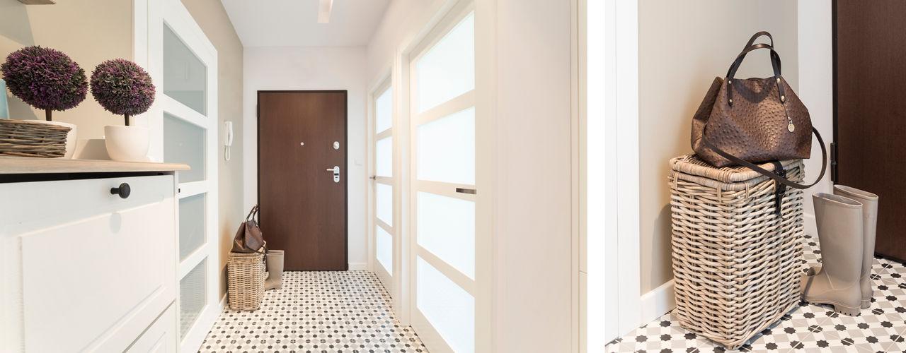 Mieszkanie - Warszawa - 85 m2 Mprojekt Nowoczesny korytarz, przedpokój i schody