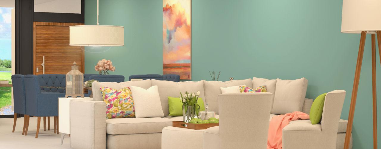 CONTRASTE INTERIOR Ruang Keluarga Minimalis Tekstil White