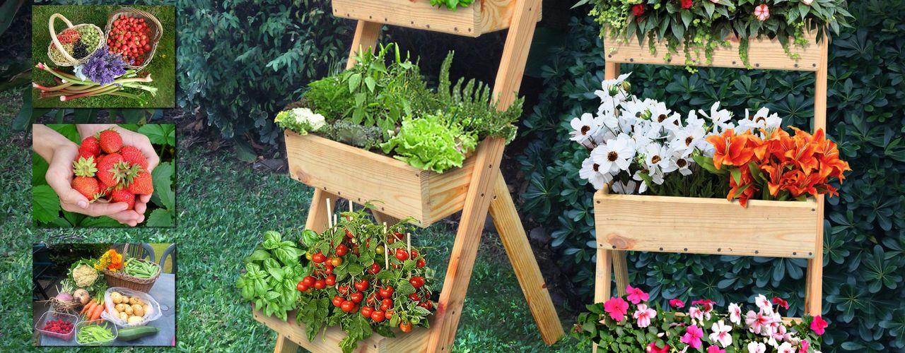 Mundo Garden JardimPotes e vasos Madeira maciça Acabamento em madeira