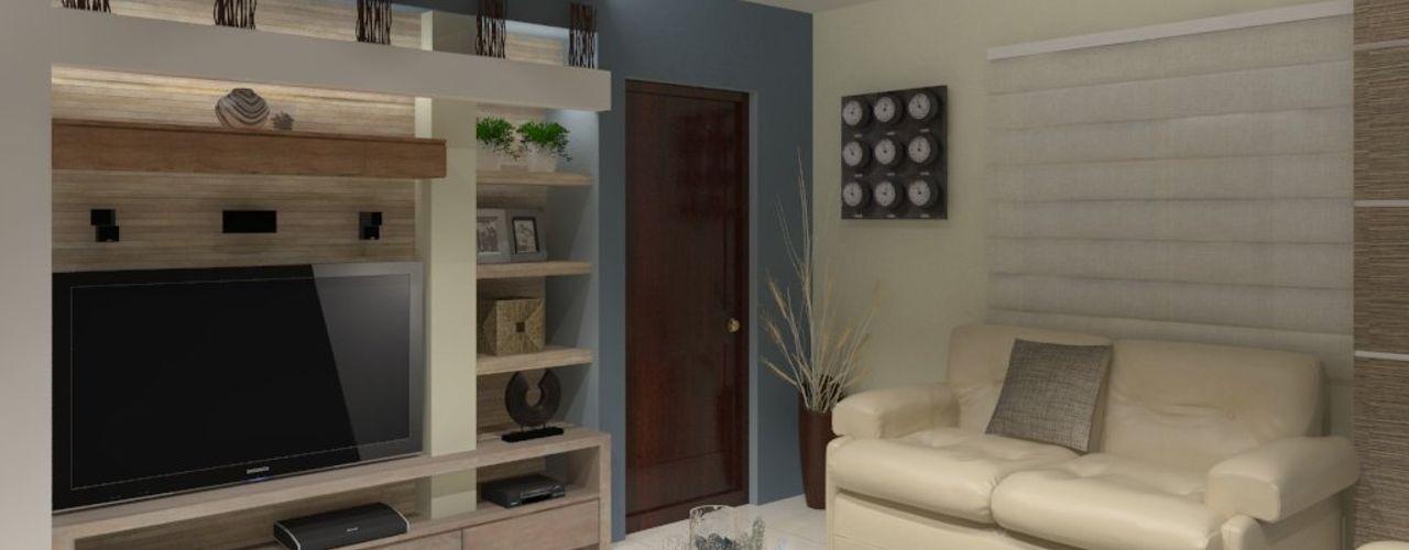 AurEa 34 -Arquitectura tu Espacio- Salas multimedia de estilo moderno Beige