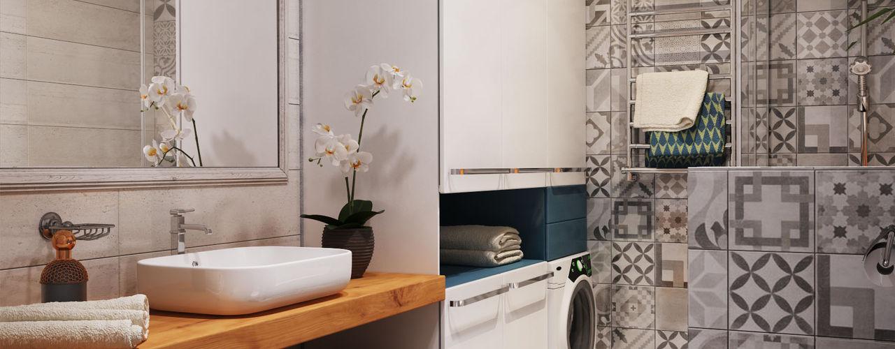"""APARTMENT """"VERBI"""" Polygon arch&des Minimal style Bathroom Tiles White"""