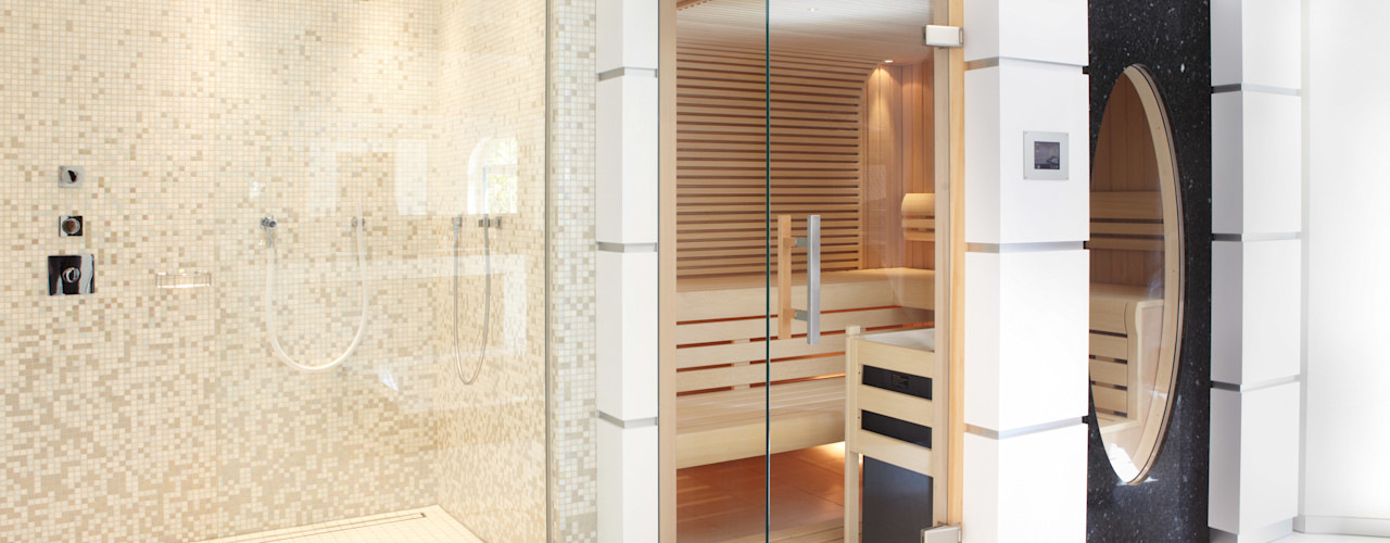 modernes Wellnessbad mit Whirlwanne Erdmann Exklusive Saunen Moderner Spa