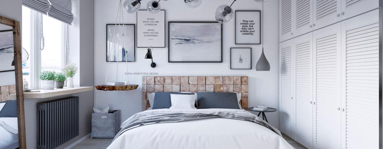 Elena Arsentyeva Scandinavian style bedroom Wood White