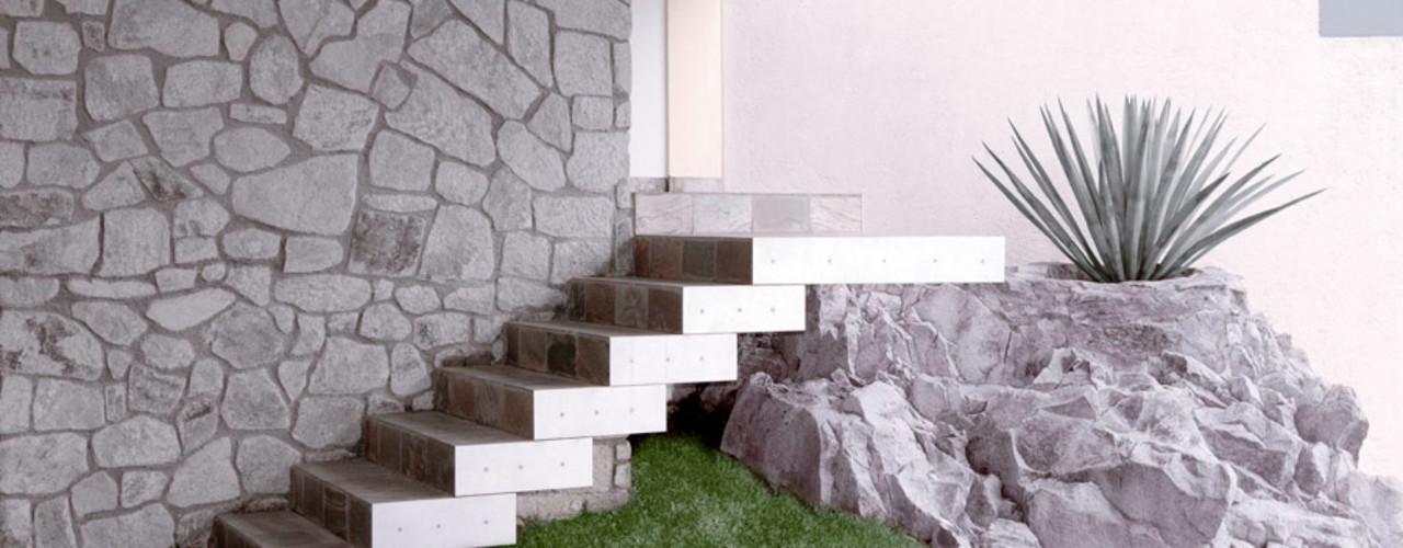 alexandro velázquez Modern corridor, hallway & stairs