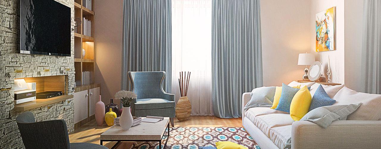 3-bedroom Apartment, Moscow Alexander Krivov Living room Beige