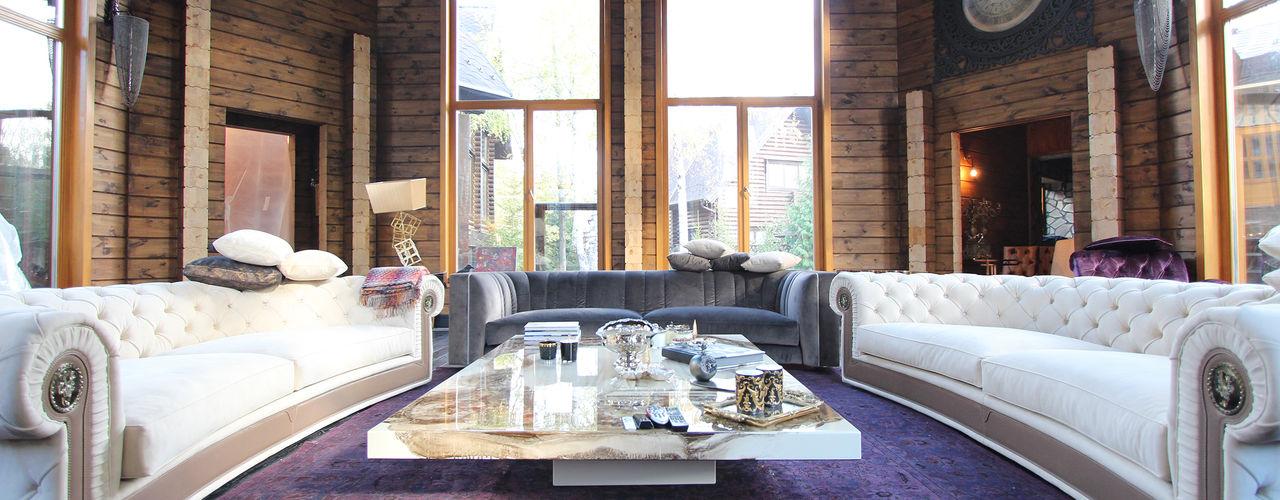 Log House Orkun Indere Interiors Rustic style living room Solid Wood Purple/Violet