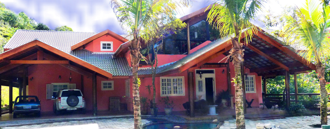 Elisabeth Berlato Arquitetura, Interiores e Paisagismo Country style houses Bricks Orange