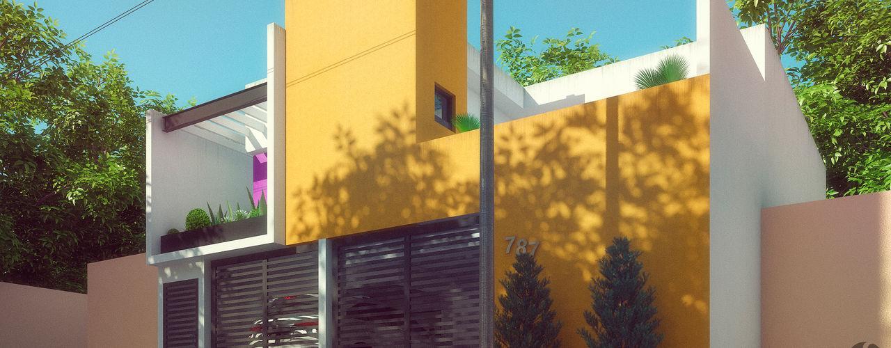 Laboratorio Mexicano de Arquitectura Maisons minimalistes Béton Jaune
