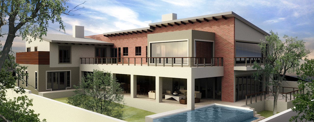 Waterfall Country Estate House Blue Designs Architectural Designers Modern houses Bricks