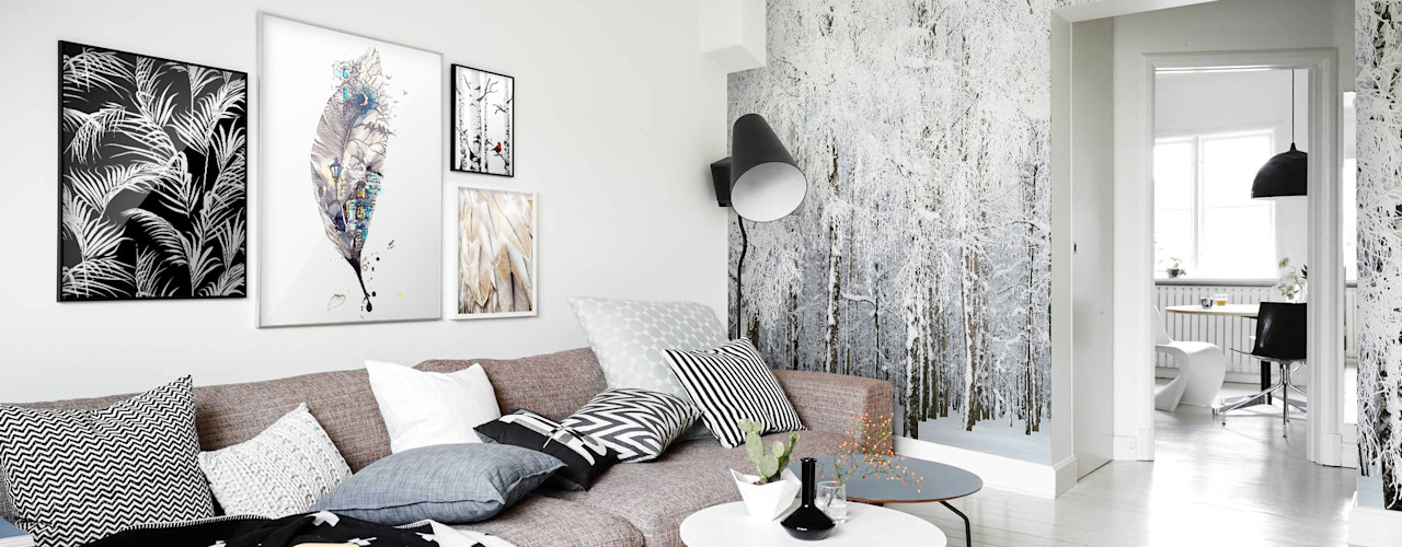 Living Room Pixers オリジナルデザインの リビング 灰色