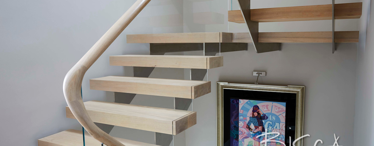 Multiflight Stair Design 4669 Bisca Staircases Modern Corridor, Hallway and Staircase