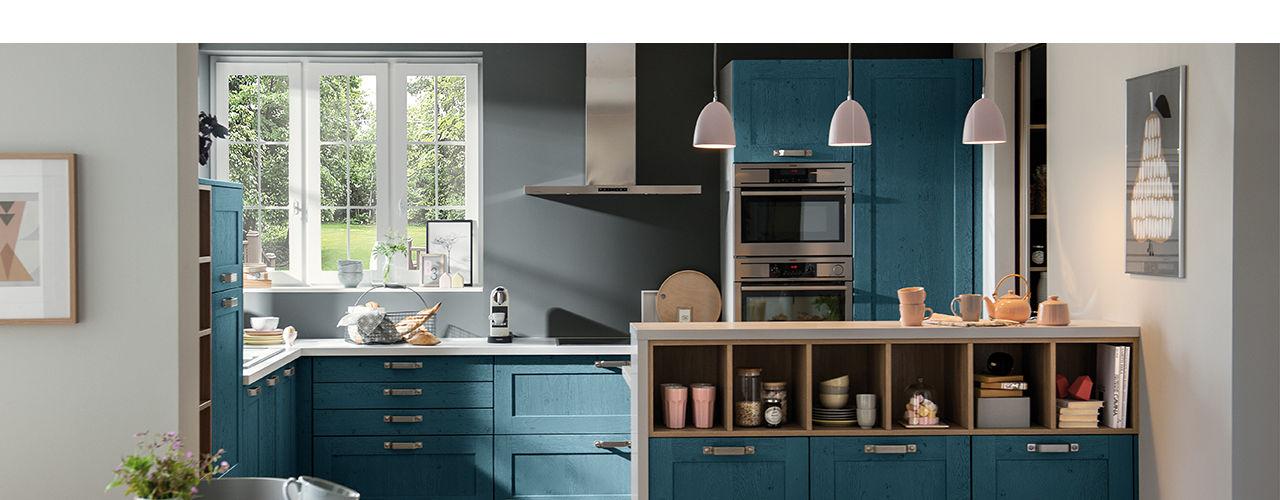 Schmidt Kitchens Barnet Cocinas de estilo rústico Tablero DM Azul