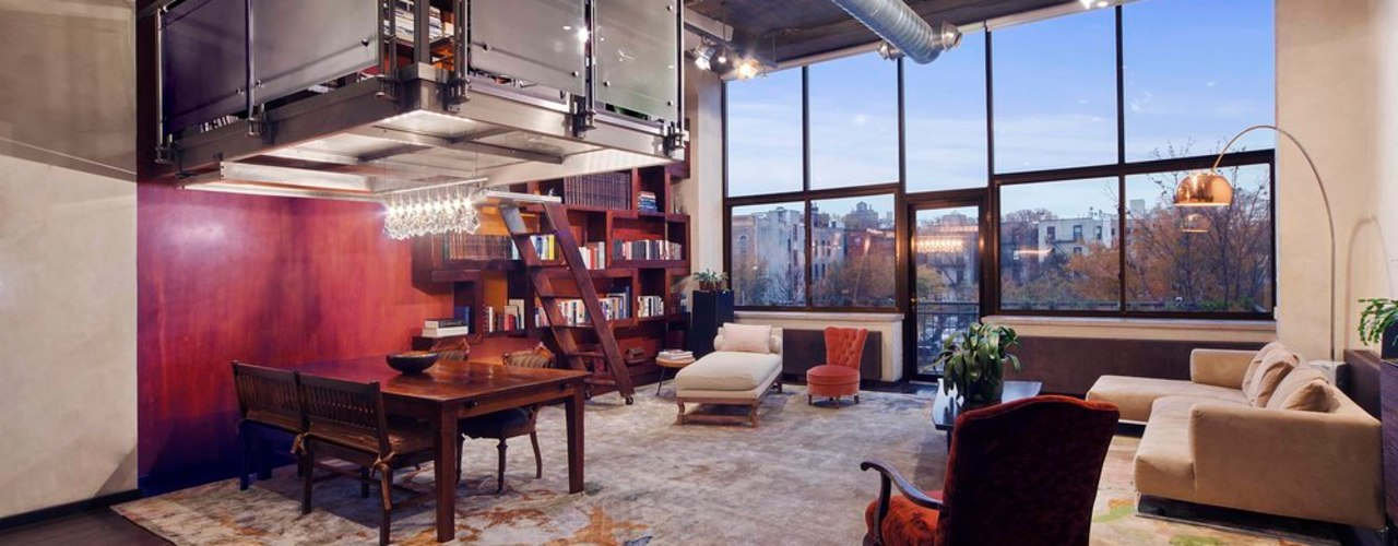 Brooklyn Loft Joe Ginsberg Design Modern Living Room Multicolored