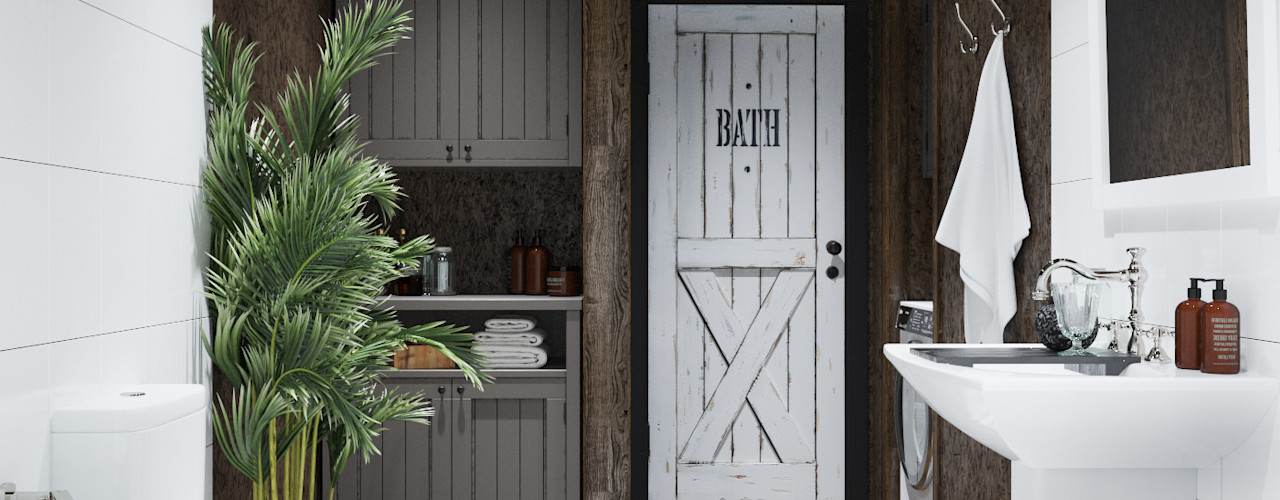 Home in the Woods Baños de estilo escandinavo Madera Blanco