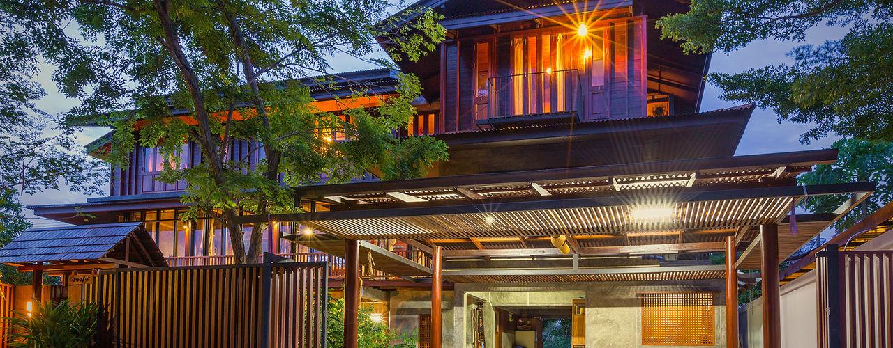 บริษัท สถาปนิกชุมชนและสิ่งแวดล้อม อาศรมศิลป์ จำกัด Country style houses Wood Brown