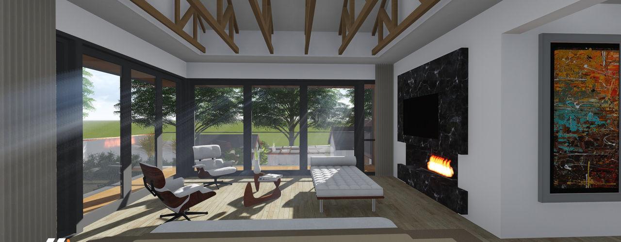Craighall Park Residence JLA - Jarrod Len Architecture Modern living room