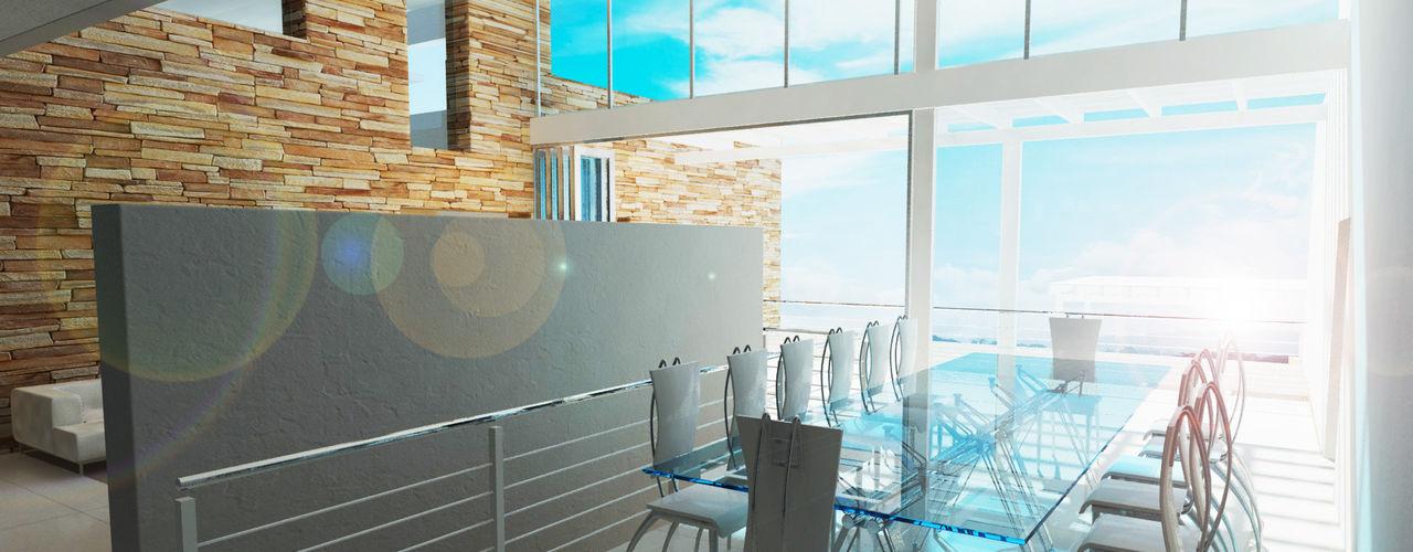 Edge Design Studio Architects Minimalist dining room Concrete Grey