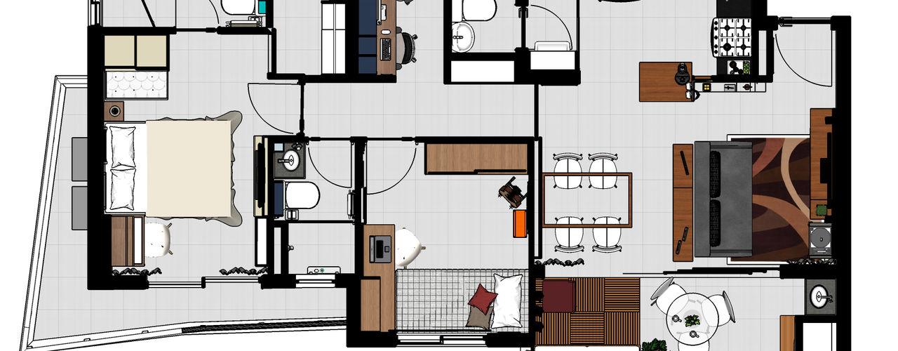 Ladrilho Urbanismo e Arquitetura Camera da letto moderna MDF Variopinto