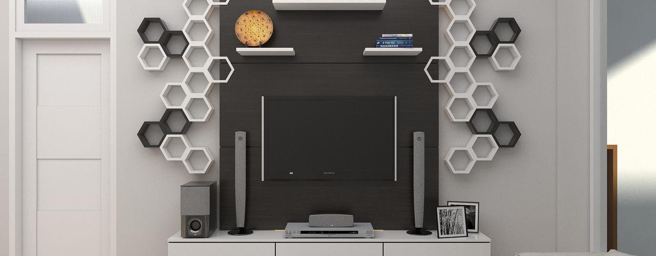JSK STUDIO DESIGN Modern living room MDF Black