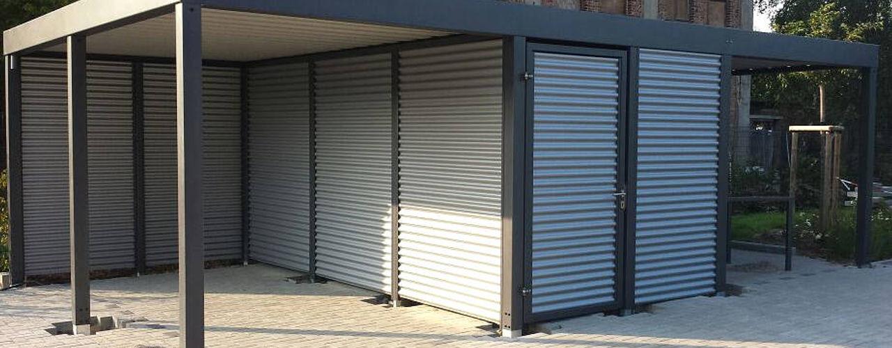 Carport-Schmiede GmbH & Co. KG - Hersteller für Metallcarports und Stahlcarports auf Maß 倉庫/儲藏間 鐵/鋼 Grey