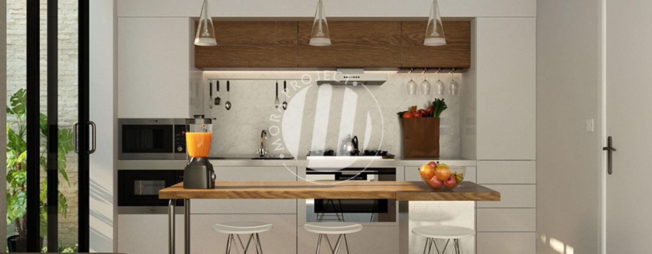 Dapur dan Ruang Makan Maxima Studio Medan Interior Design & Arsitek Unit dapur Kayu Grey