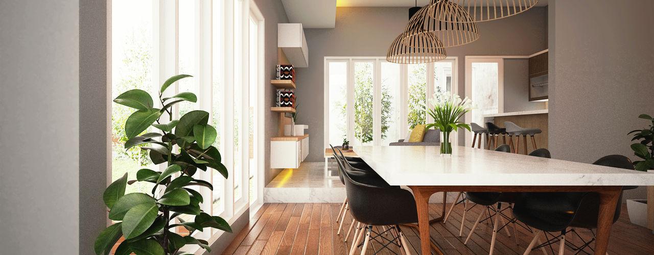 aksen architectural visualization Comedores modernos Madera maciza Acabado en madera