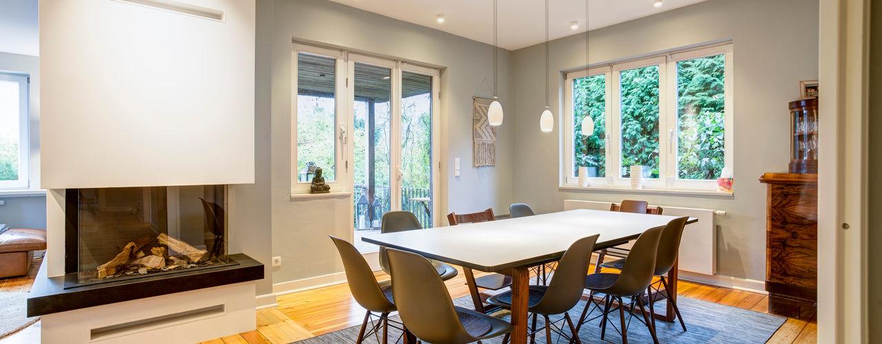 Lichtplanung für Umbau Einfamilienhaus Hamburg Lichtja Licht und mehr GmbH Moderne Esszimmer Weiß
