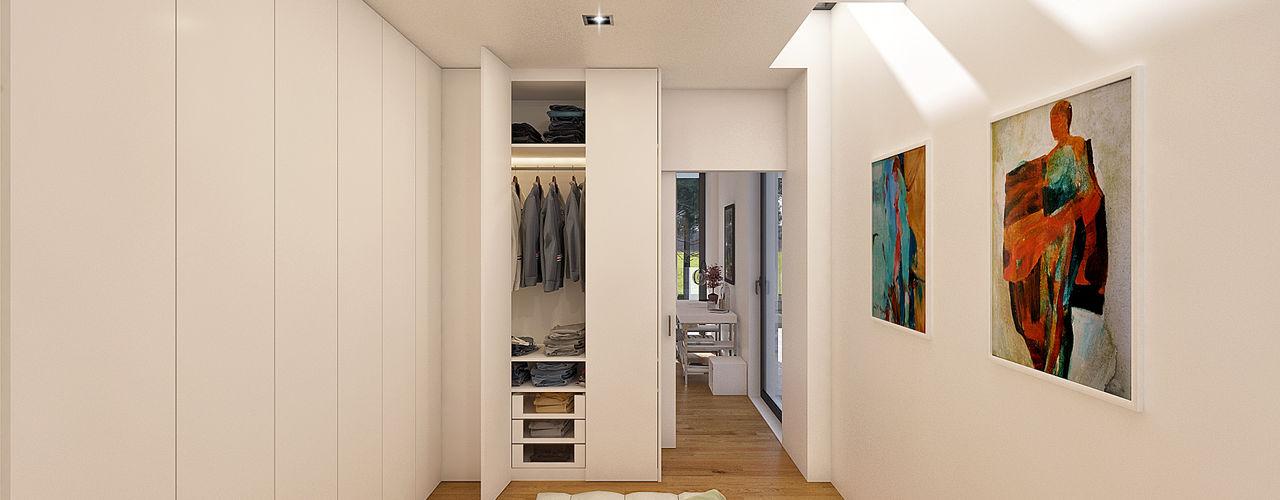 CASA PF1 - Moradia na Herdade da Aroeira - Projeto de Arquitetura Traçado Regulador. Lda Closets modernos Madeira Branco