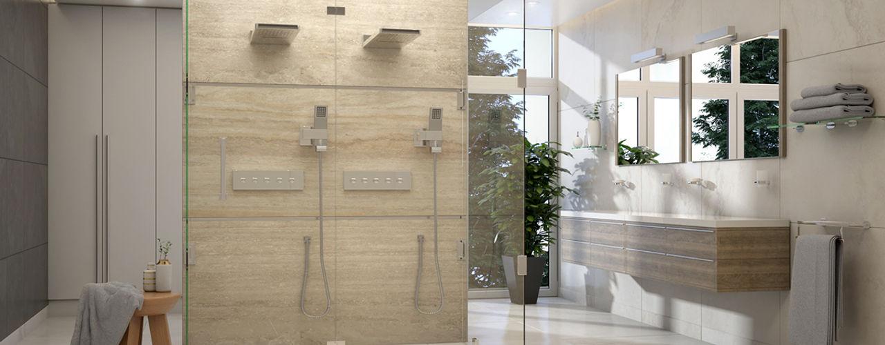 Diseño de Baño Moderno - Miami Brickell Gabriela Afonso Baños de estilo moderno Mármol Beige