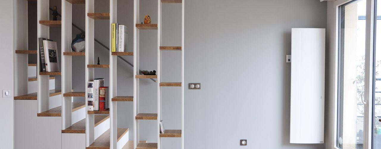 Rénovation d'un duplex SP Archidesign Escalier Bois massif Blanc