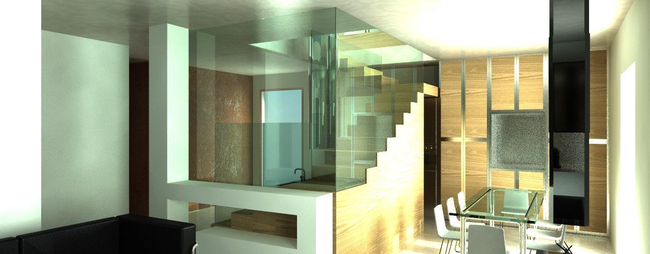 MEF Architect Muebles de cocinas Vidrio Acabado en madera