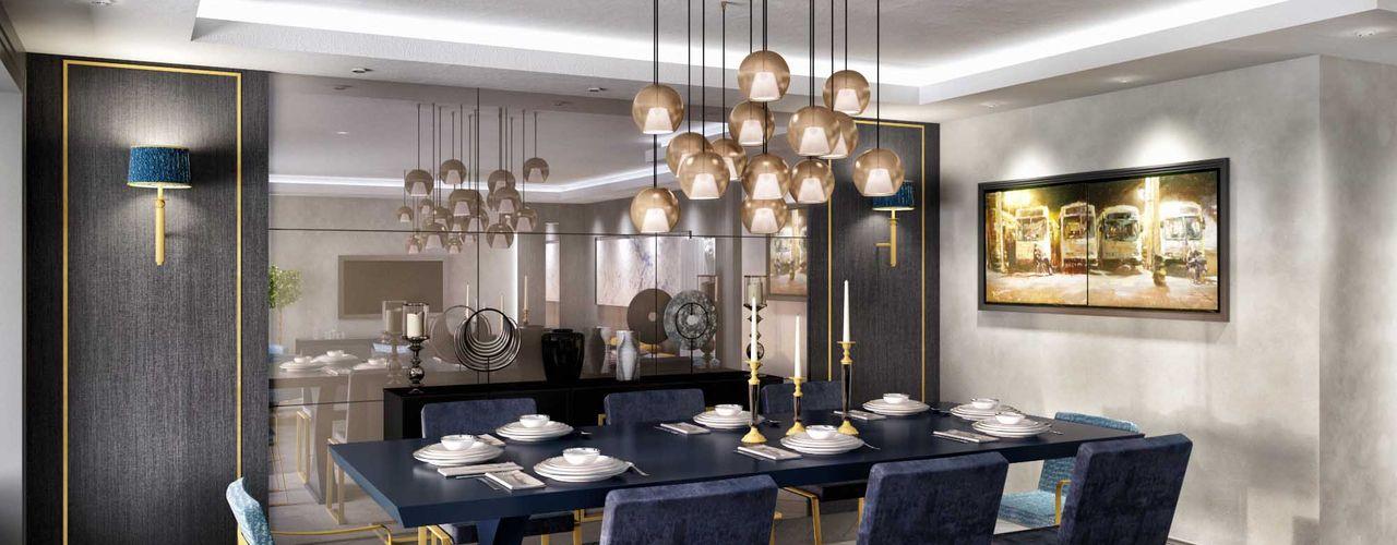 Hande E. Konut ANTE MİMARLIK Modern Yemek Odası Mavi
