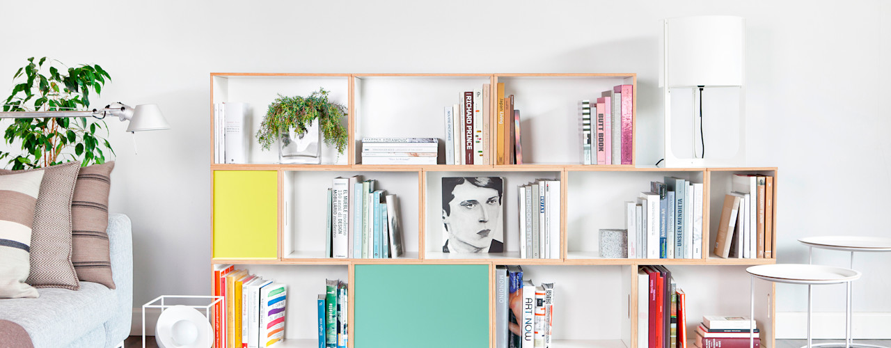 BrickBox - Estanterías Modulares WohnzimmerRegale Sperrholz Weiß