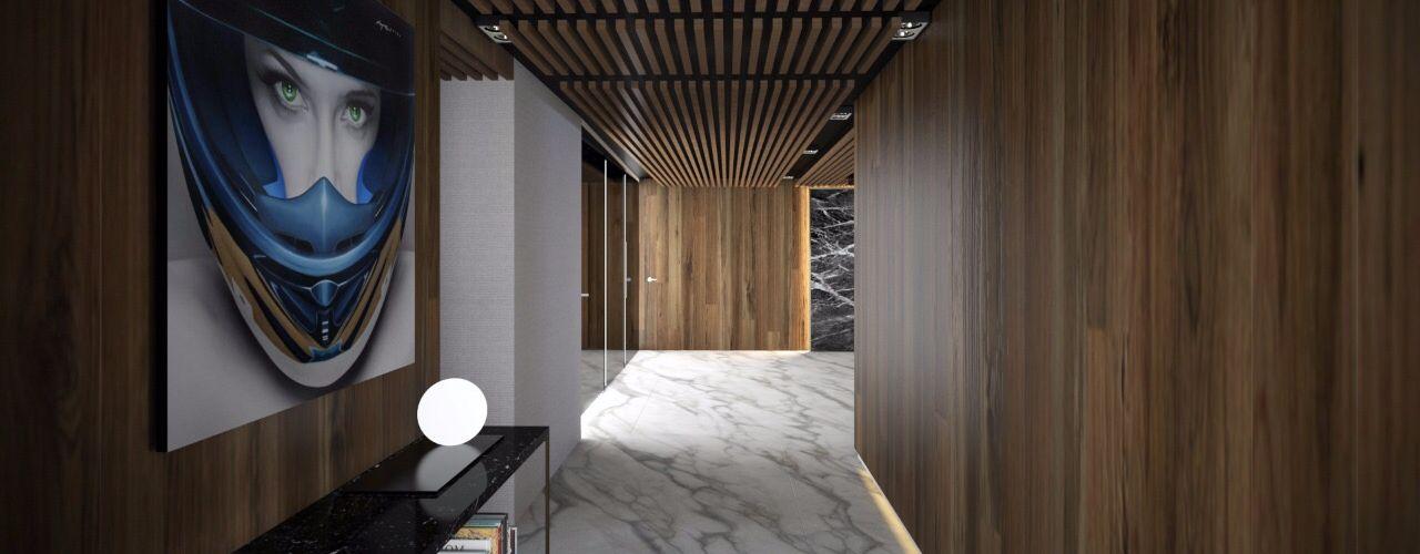 FM ARQUITECTOS Pasillos, vestíbulos y escaleras de estilo moderno Mármol