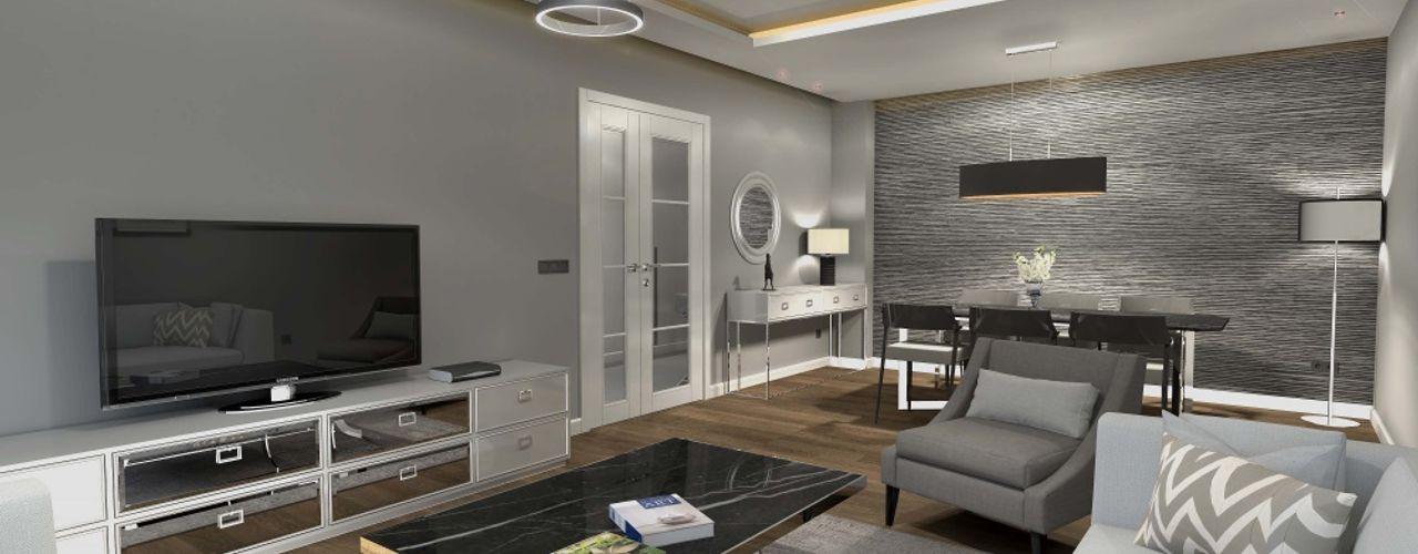 Loca Efes Projesi Orby İnşaat Mimarlık Modern Oturma Odası Beton Bej
