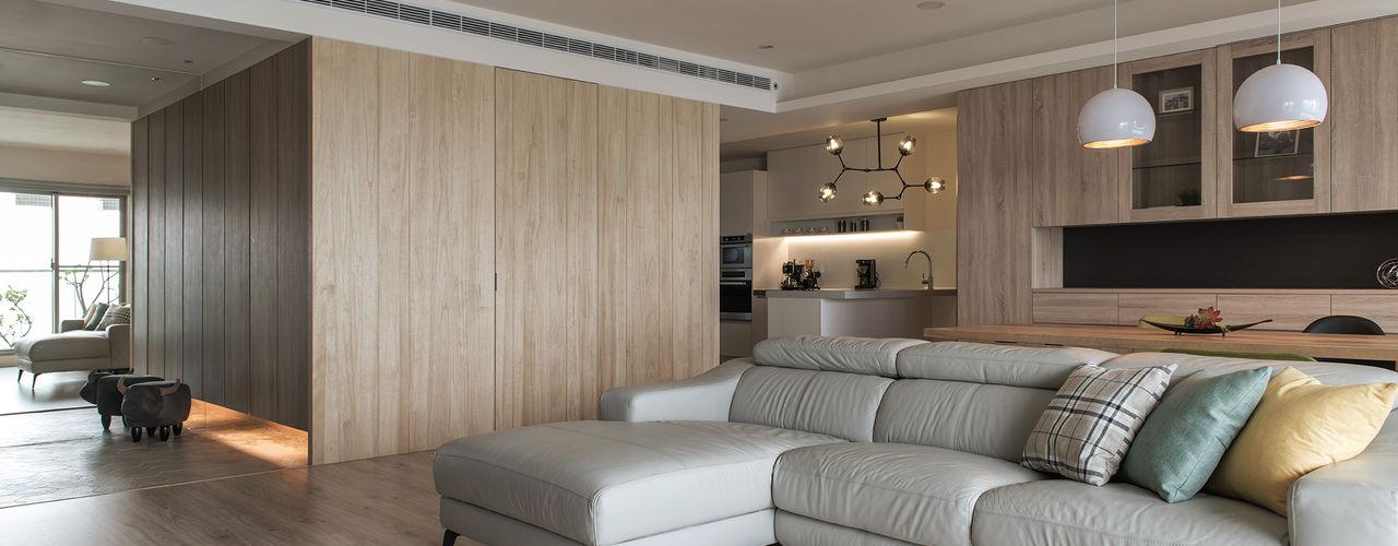 沁白 詩賦室內設計 现代客厅設計點子、靈感 & 圖片
