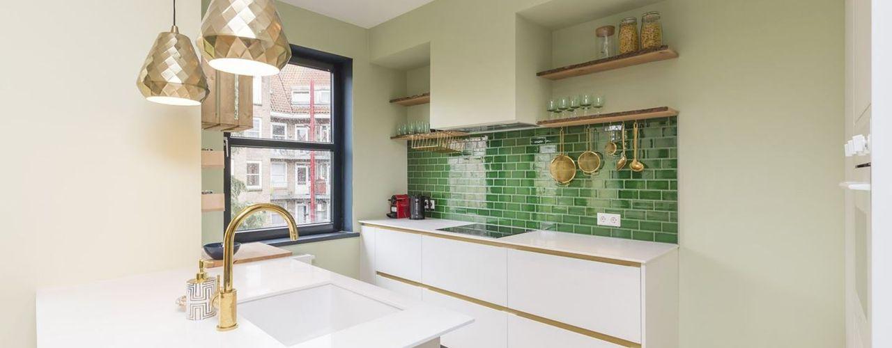 Obradov Studio Small kitchens Плитки Зелений