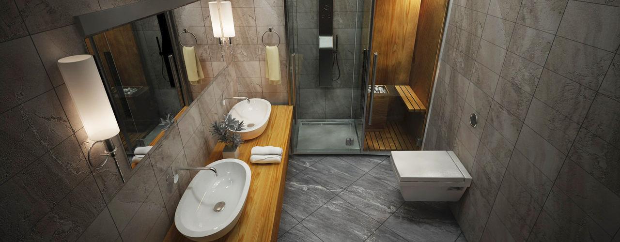 ARCONPROJE Moderne Badezimmer Holz-Kunststoff-Verbund Grau