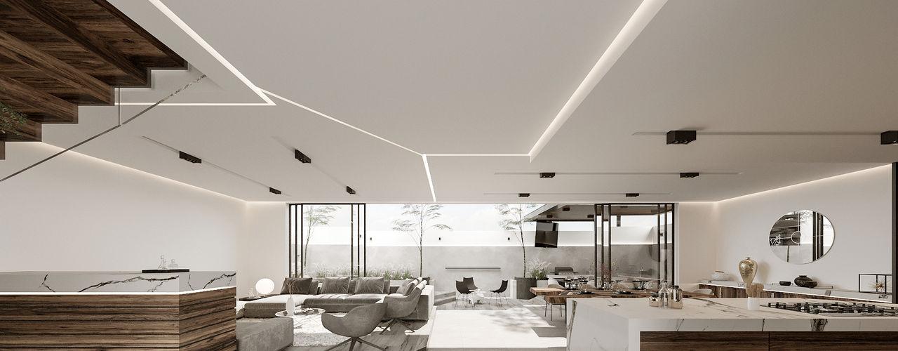 Rebora Arquitectos Couloir, entrée, escaliers minimalistes Blanc