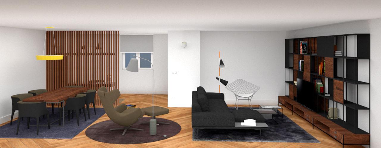 Reforma, decoración y amueblamiento de un piso de 260 metros cuadrados en el centro de Gijón arQmonia estudio, Arquitectos de interior, Asturias Salones de estilo minimalista