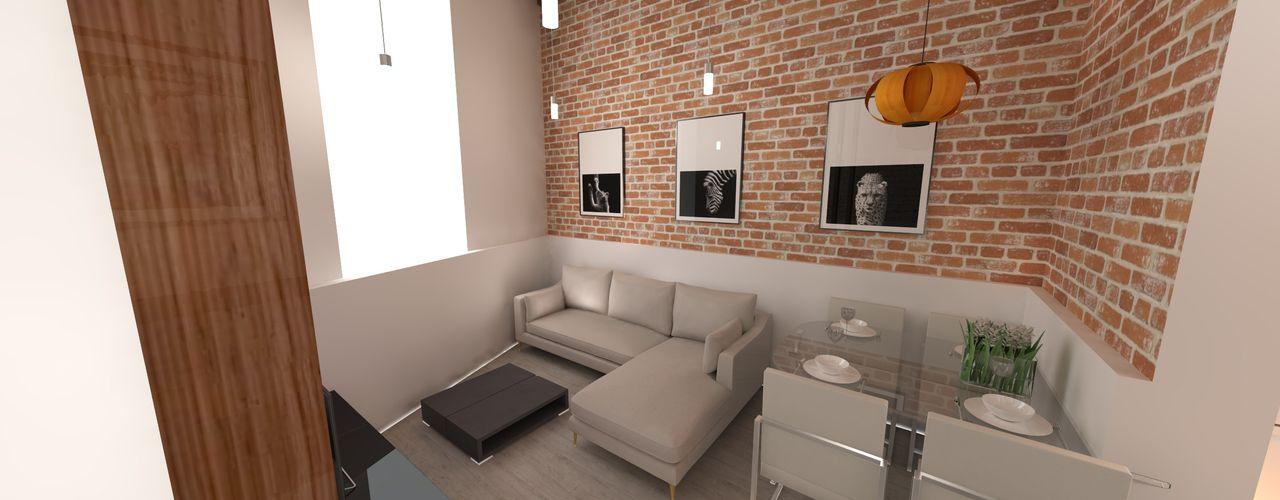 REFORMA VIVIENDA 1910 CALLE CARVAJAL LAS PALMAS GRAN CANARIA RÖ   ARQUITECTOS Salones de estilo minimalista Ladrillos