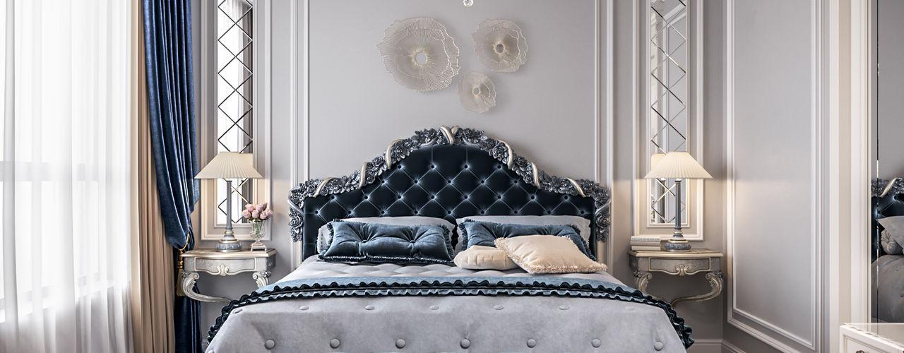 Двухуровневая квартира, г.Москва Студия дизайна интерьера OBZOR Спальня в классическом стиле Синий