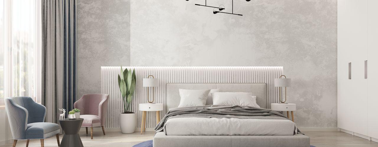 Дизайн двухкомнатной квартиры в ЖК Big Time (Биг Тайм) GM-interior Спальня в эклектичном стиле Белый