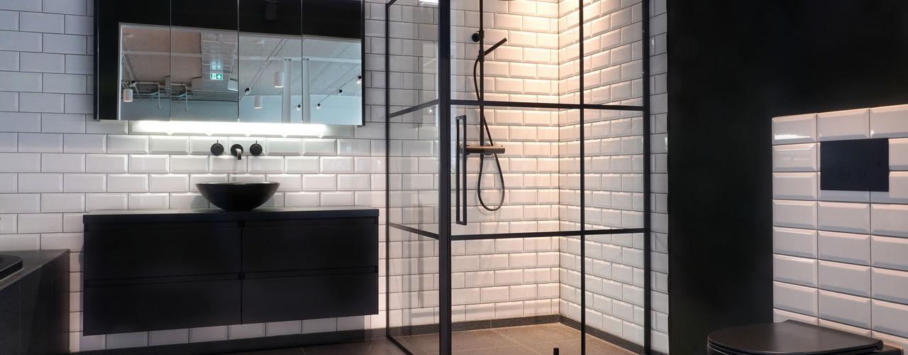 Zwarte badkamerinrichting De Eerste Kamer Moderne badkamers Keramiek Zwart