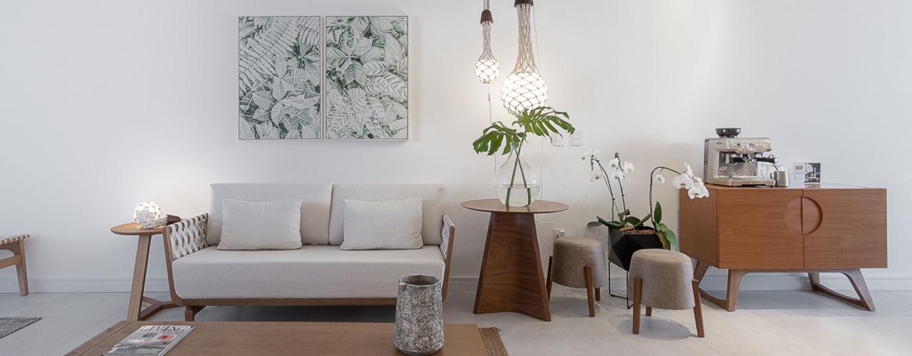 MOSTRA MURANO arquiteta aclaene de mello Salas de estar minimalistas Arenito Branco