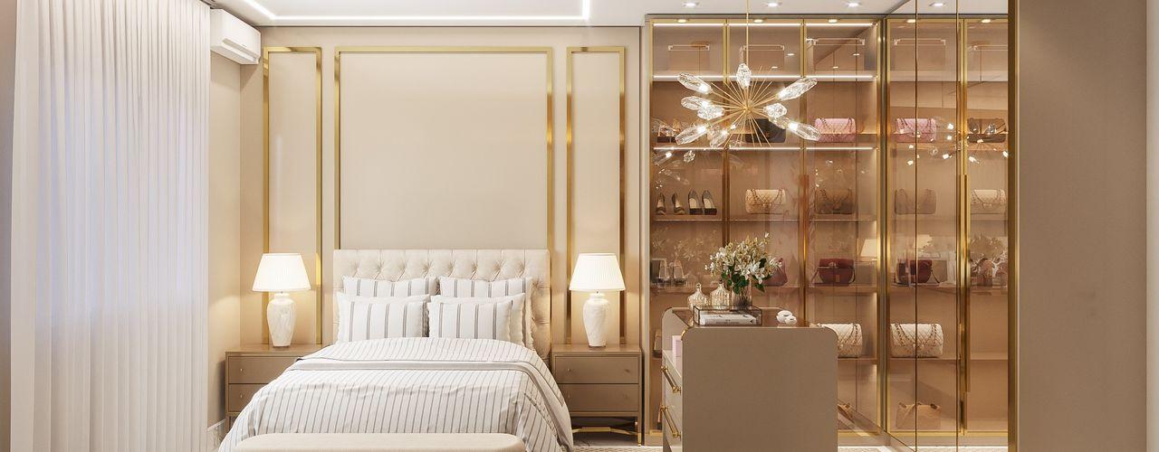 Casa | JU - Piso Superior Camila Pimenta | Arquitetura + Interiores Quartos modernos Madeira Bege