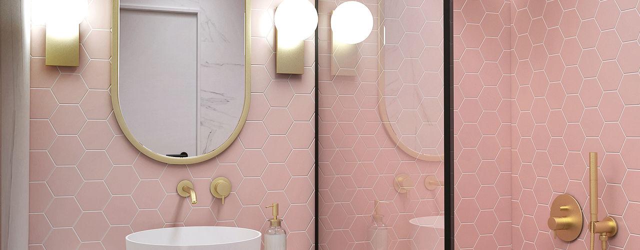 Projecto 3D - Ouro sobre rosa Smile Bath S.A. Casas de banho minimalistas Rosa