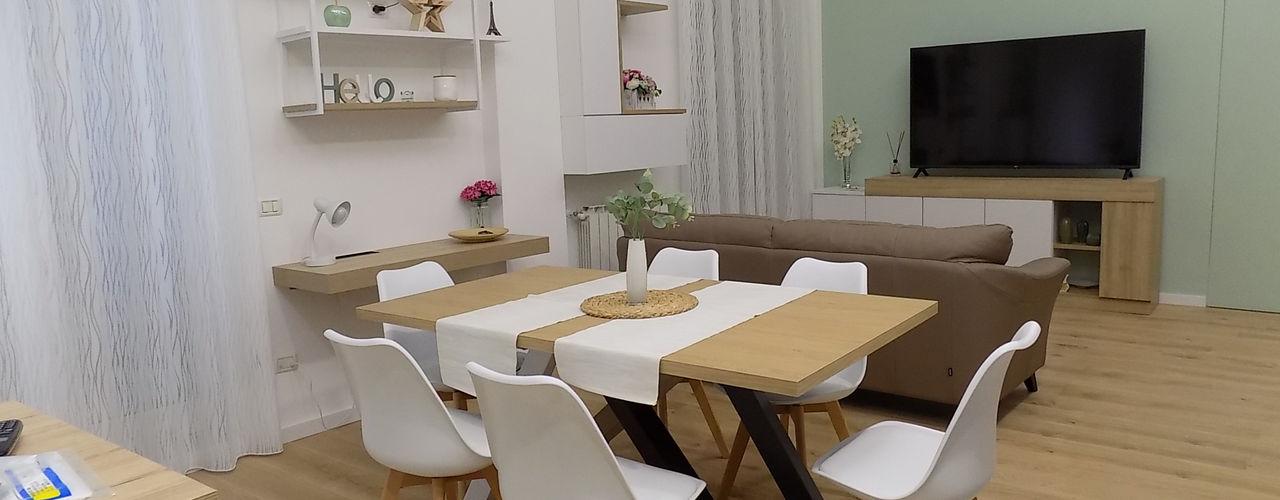 Progetto di Interior Design Abitazione Privata Seven Project Studio Soggiorno moderno Legno Bianco